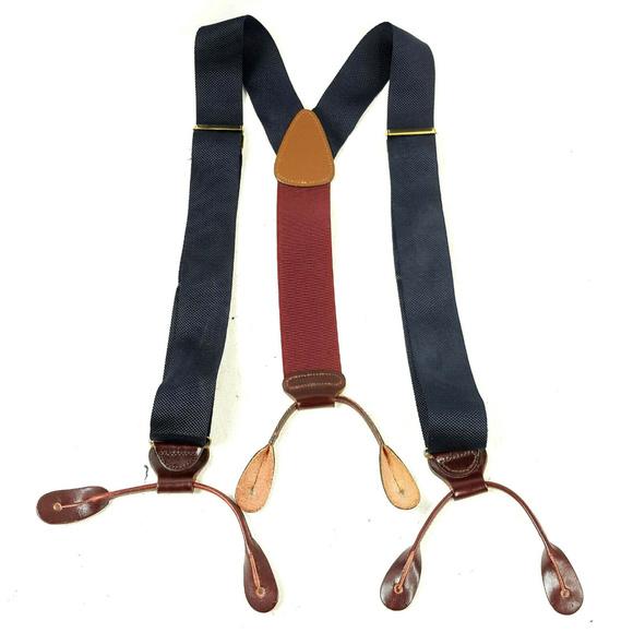 Trafalgar Mens Blue & Red Suspenders Braces